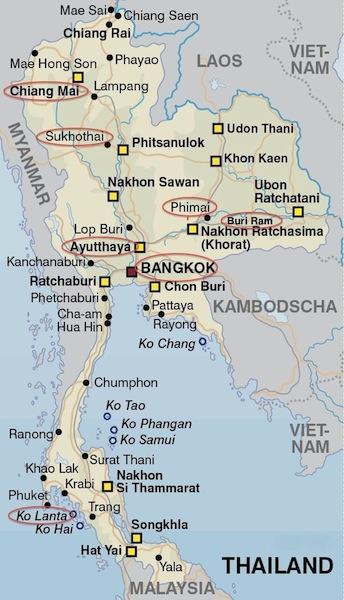 Thailand-Karte Reiseroute