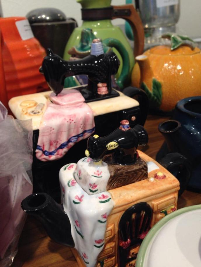 Camarena purchased from Lopez two ceramic teapots shaped like sewing machines. These teapots were given as a gift to Lopez by an art critic who helped Lopez gain recognition as an early Chicana artist. Camarena treasures these teapots.