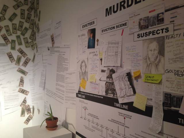 "Murder Board in ""Home/Studio: Eviction Scene Investigation"" (MCCLA, 2014)"