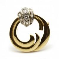 Broche or et diamants - années 60