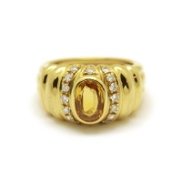 Bague -  Saphir jaune et diamants