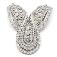 Broche année 60 - Or, platine et diamants