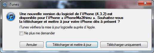 L'iOS 4.3.2 est disponible via iTunes