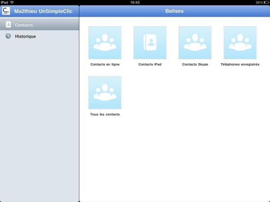Skype iPad - Contacts