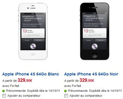 iPhone 4S - Tarifs SFR du modèle 64Go