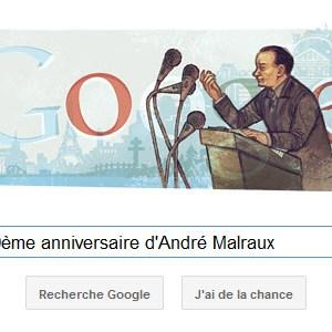 Google fête le 100ème anniversaire d'André Malraux