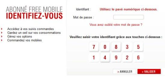 Free Mobile : changement du système d'identification