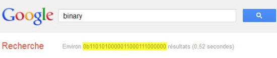 "Google : tapez ""binary"" et regardez..."