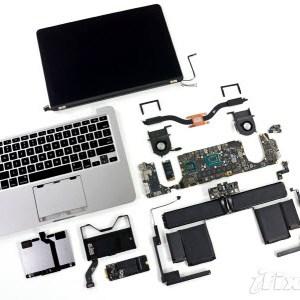 Le MacBook Pro Retina 13 pouces en pièces détachées par iFixit