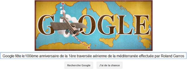 Google fête le 100ème anniversaire de la 1ère traversée aérienne de la méditerranée [Doodle]