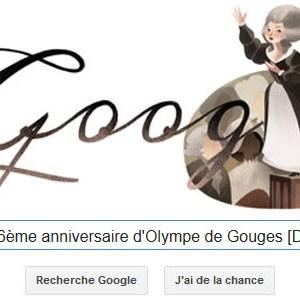 Google fête le 266ème anniversaire d'Olympe de Gouges [Doodle]