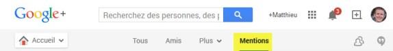 """Google ajoute un onglet """"Mentions"""" à Google+ version web"""