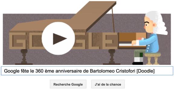 Google fête le 360ème anniversaire de Bartolomeo Cristofori [Doodle]