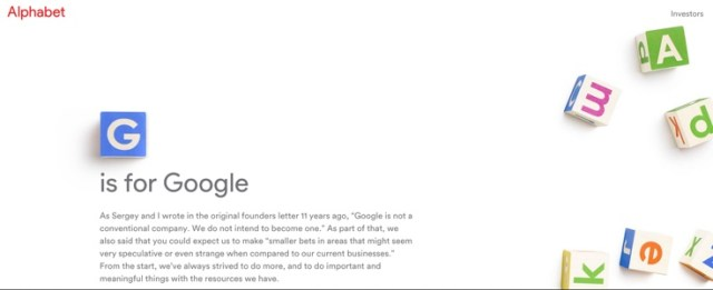 Alphabet absorbe Google qui devient une simple filiale