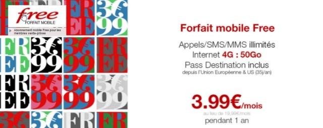 FreeMobile propose de nouveau un forfait à 3,99€ par mois pendant 1 an sur Vente-privee.com