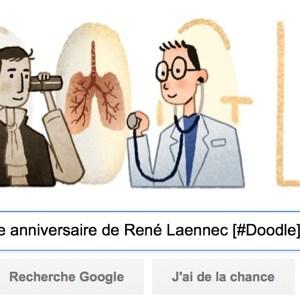 Google fête le 235e anniversaire de René Laennec [#Doodle]