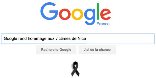 Google rend hommage aux victimes de Nice