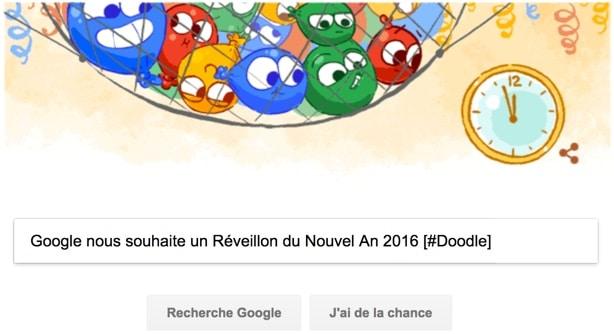 Google nous souhaite un Joyeux Réveillon du Nouvel An 2016 [#Doodle]