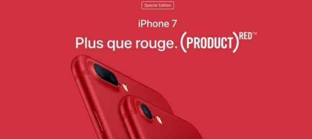 Apple lance en édition spéciale, des iPhone 7 et iPhone 7 Plus de couleur rouge