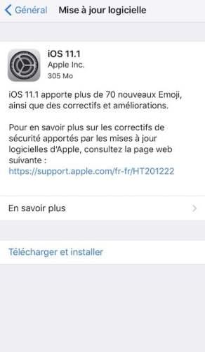 L'iOS 11.1 est disponible au téléchargement [liens directs]