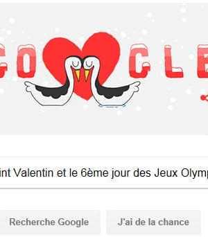Google fête la Saint Valentin et le 6ème jour des Jeux Olympiques d'Hiver [#Doodle]