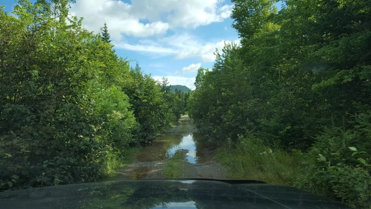 Flooded dirt road to Shin Brook Falls.