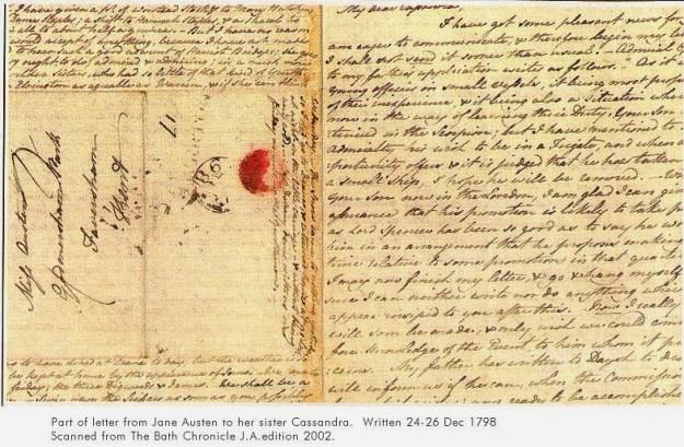Lettera di Jane a Cassandra Austen, dic. 1798