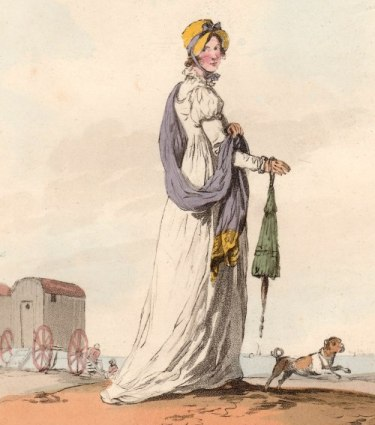 Ackermann's Repository, plate, walking lady with parasol and dog, bathing machines