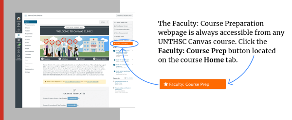 Faculty: Course Prep button location