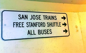 Sign to free Stanford shuttle