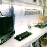 Apple 1 computer with keyboard, monitor, original package and letter from Steve Jobs, at the Cupertino Historical Society and Museum.