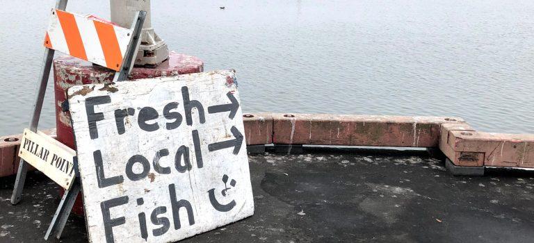 Sign for Fresh Local Fish at Pillar Point Harbor, Half Moon Bay.