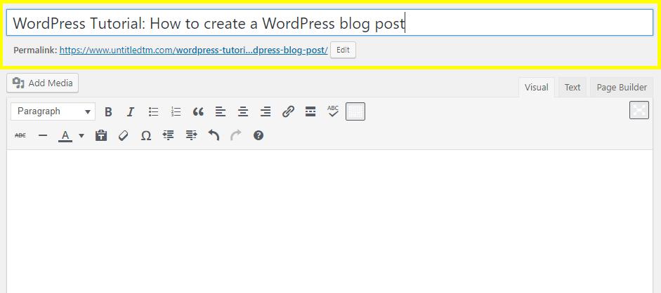 WordPress Tutorial: Add Title
