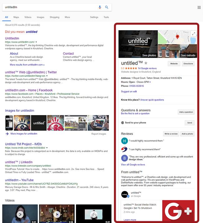 Google My Business - cheshire web design example