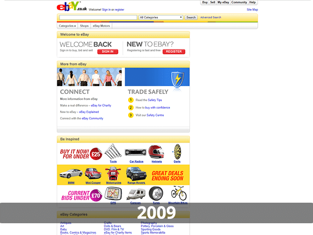 Ebay Website in 2009