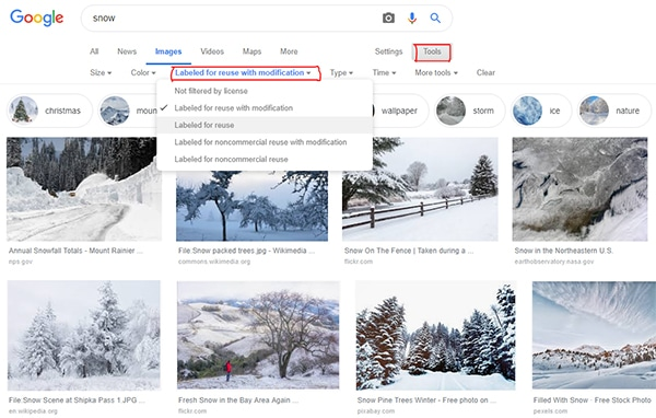 Google Image Search Licence Filter