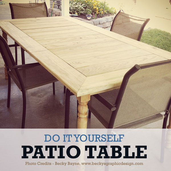 diy outdoor patio table DIY Patio Table to Fit the Whole Family