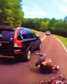 Shocking moment Volvo slams into cyclist in Tennessee