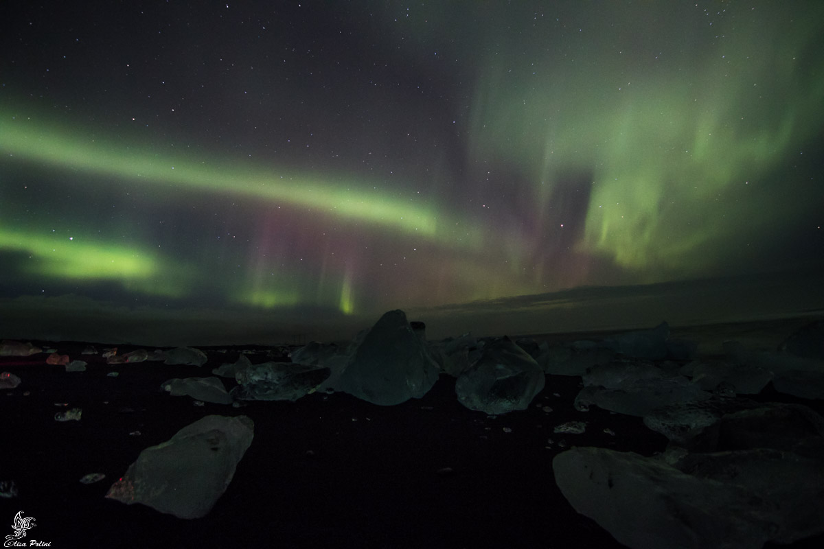 Aurora Boreale in Islanda: Diamond Beach