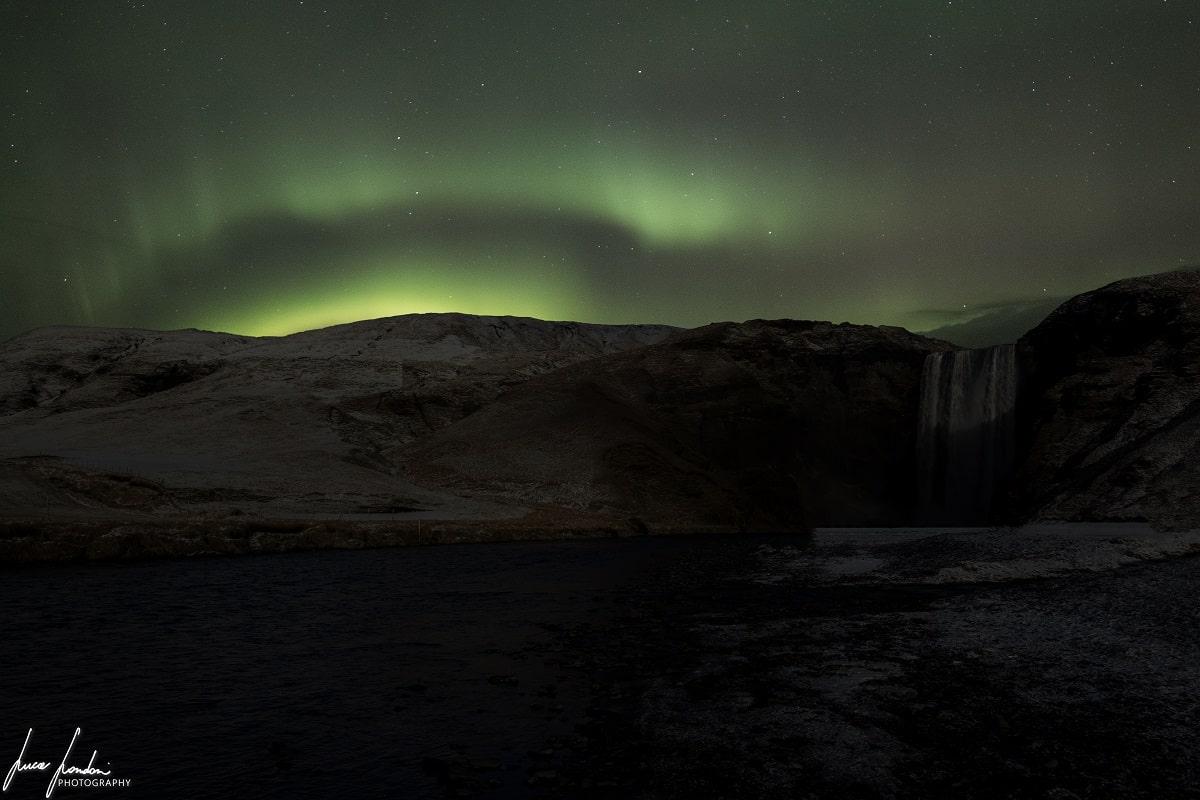 Aurora Boreale in Islanda: Skogafoss