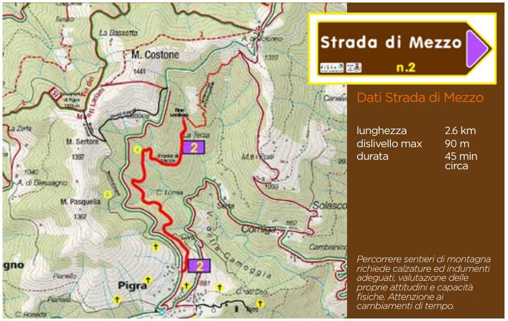Pigra: mappa sentiero 2