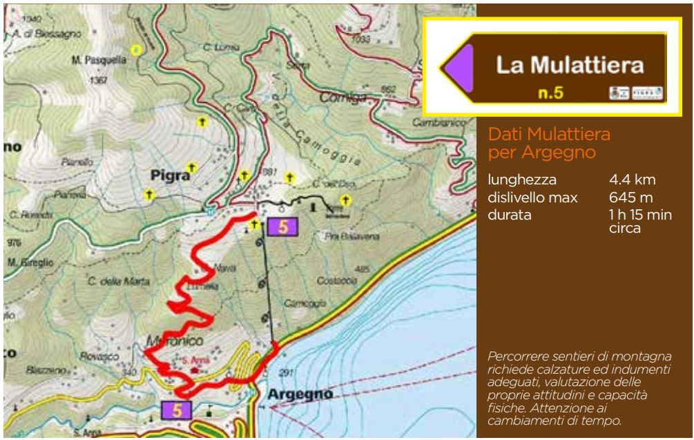Pigra: mappa sentiero 5