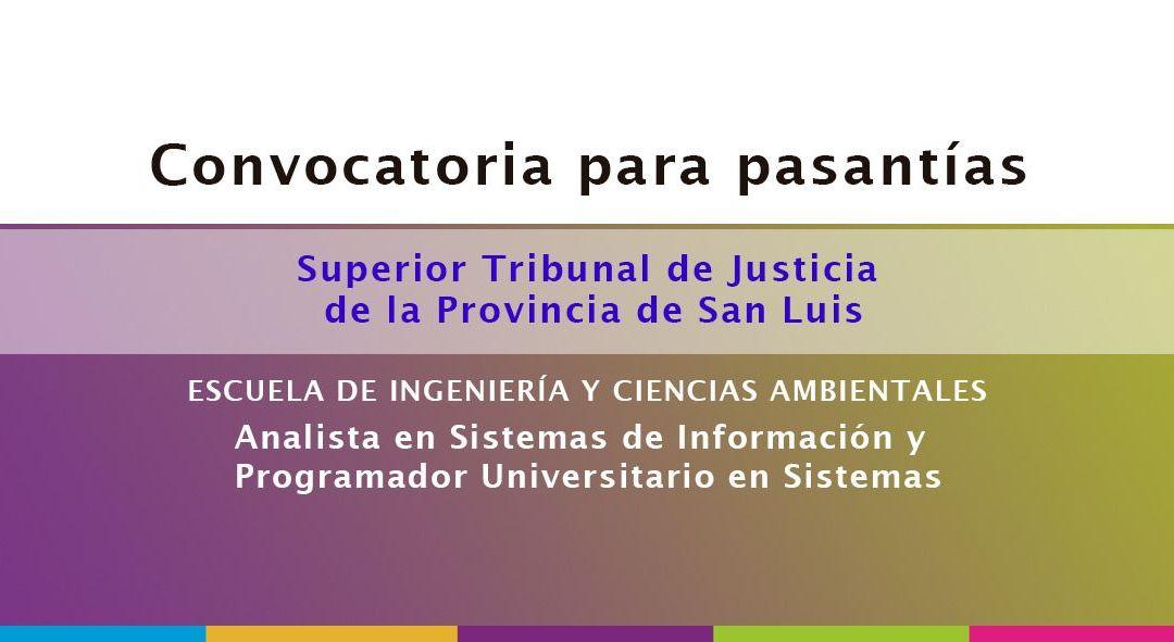 Convocatoria de aspirantes para pasantías en el Superior Tribunal de Justicia de la Provincia de San Luis