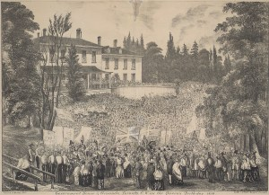 Celebration of Queen Victoria's birthday on the grounds of the second Government House of Upper Canada (the first outside of Fort York), at the corner of King and Simcoe Streets, Toronto (1854). Toronto Public Library. TRL, J. Ross Robertson Collection, JRR 296