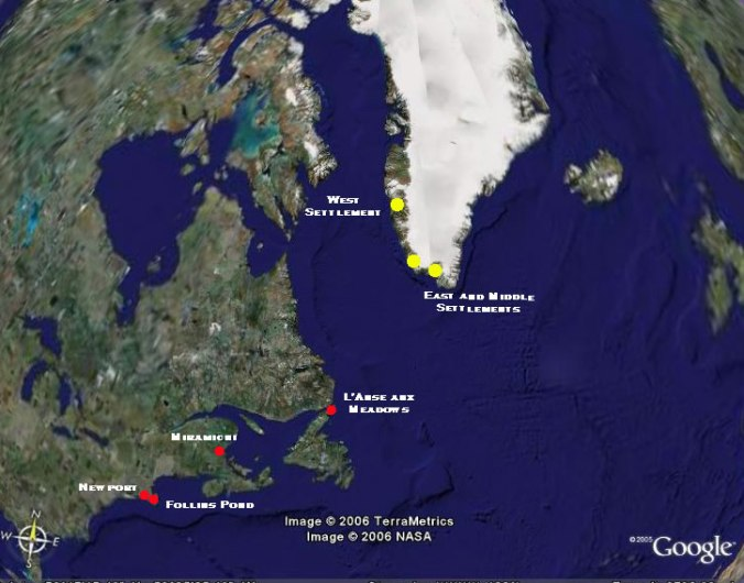 Map of Greenland Settlements and Proposed Vinland Locations, After Google Earth,