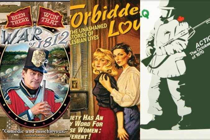 Film posters for The War of 1812, Been There Won that; Forbidden Love; Action.