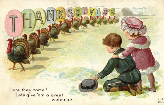 "Two children (a boy and a girl) in 1910-era clothing face a line of turkeys carrying individual letters for the word ""Thanksgiving"". On the front of the card, code T-17 and copyright symbol with a N in a triangle (stands for E. Nash) appears. Embossed"