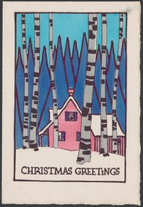 "This Christmas card is an illustration of a pink cabin in the woods. In the background there are green pine trees, and in the foreground there are birch trees. The ground is covered with snow, and there is some blue sky at the top. The cabin is viewed from the side, with a porch on the left., the main house with three windows, and either an addition or the back part of the house on the right. The sentiment says: ""Christmas Greetings"""