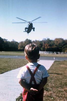 John John awaiting his father's return to the White House