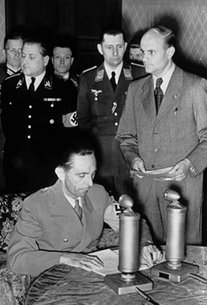 Joseph Goebbels announces to the world the stunning news that German, Finnish and Romanian forces were launching an attack against the Soviet Union. Broadcasting from Berlin early Sunday morning, June 22, 1941, the Reich Minister reads the text of Hitler's proclamation explaining the background and reasons for the attack – the largest military campaign in history.